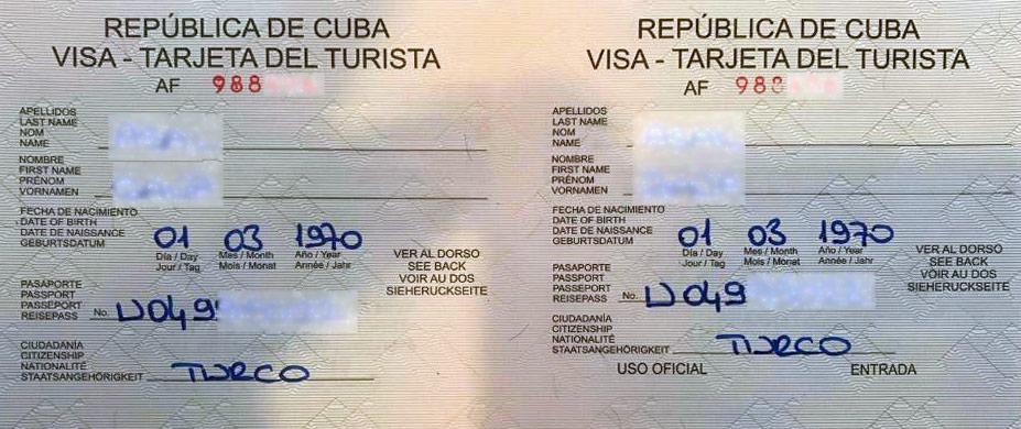 Küba Vize Örneği